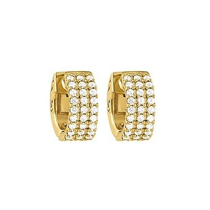 LoveBrightJewelry Cz 3 Row Petite Vault Lock Hoop Earrings In 14kt Yellow Gold Over Sterling Silver