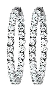 LoveBrightJewelry CZ 39mm Round Prong.15 Inside Out Hoop Earrings in White Rhodium over Sterling Silver