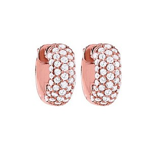 LoveBrightJewelry Cz 5 Row Petite Vault Lock Earrings In 14kt Rose Gold Over Sterling Silver