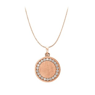 LoveBrightJewelry CZ Engravable Disc Pendant in 14K Rose Gold Vermeil