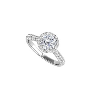 LoveBrightJewelry Cz Halo Engagement Ring Styled In 925 Sterling Silver