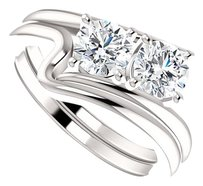 LoveBrightJewelry CZ Prong Set Two Stone Designer Ring Sterling Silver