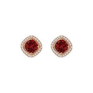 LoveBrightJewelry CZ Ruby Rhombus Square Halo Stud Earrings 14K Rose Gold