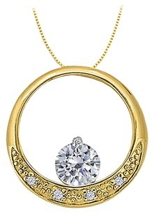 LoveBrightJewelry Dancing Cubic Zirconia Circle Pendant in Gold Vermeil over Sterling Silver 0.50 CT TGW