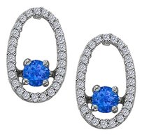 LoveBrightJewelry Dancing Diamonds Earrings with Sapphire and CZ in 925 Sterling Silver