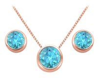 LoveBrightJewelry December Birthstone Blue Topaz Pendant and Stud Earrings Set in 14K Rose Gold Vermeil