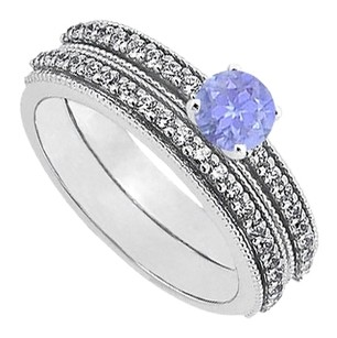 LoveBrightJewelry December Birthstone Created Tanzanite and CZ Engagement Ring with Sterling Silver Wedding Band