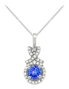 LoveBrightJewelry December Birthstone Created Tanzanite with CZ Halo Pendant in Sterling Silver