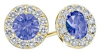 LoveBrightJewelry December Birthstone Tanzanite and CZ Halo Stud Earrings 18K Yellow Gold Vermeil 1 CT TGW