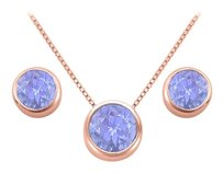 LoveBrightJewelry December Birthstone Tanzanite Pendant and Stud Earrings Set in 14K Rose Gold Vermeil