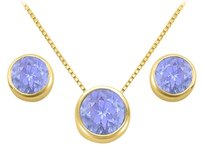 LoveBrightJewelry December Birthstone Tanzanite Pendant and Stud Earrings Set in 18K Yellow Gold Vermeil