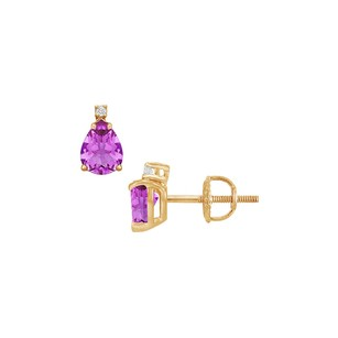 LoveBrightJewelry Diamond and Amethyst Stud Earrings 14K Yellow Gold 2.04 CT TGW
