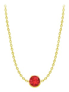 LoveBrightJewelry Diamond By The Yard GF Bangkok Ruby Necklace on 14K Yellow Gold Bezel Set 1.00 ct.tw