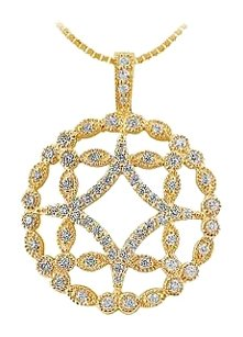 LoveBrightJewelry Diamond Floral Pendant 14K Yellow Gold 0.66 CT Diamonds