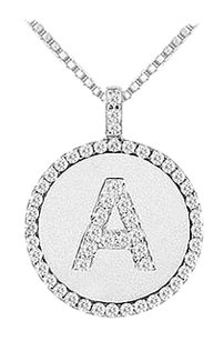 LoveBrightJewelry Diamond Initial A Disc Pendant 14K White Gold 0.55 CT TGW