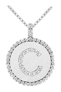LoveBrightJewelry Diamond Initial C Disc Pendant 14K White Gold 0.55 CT TGW