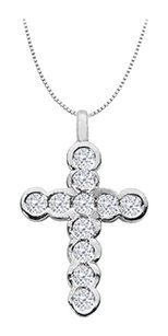 LoveBrightJewelry Diamond Religious Cross Necklace Pendant in 14K White Gold 0.33 Carat Diamonds
