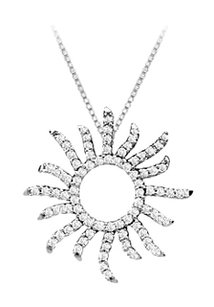 LoveBrightJewelry Diamond Sun Pendant 14K White Gold 0.40 CT Diamonds