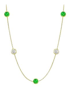 LoveBrightJewelry Diamonds By The Yard Frosted Emeralds and CZ Necklace 20.00 ct.tw