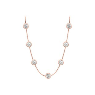 LoveBrightJewelry Diamonds By The Yard Necklace in 14K Rose Gold Bezel Set 1.75 ct.tw