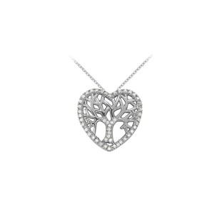 LoveBrightJewelry Diamonds Heart Pendant in 14K White Gold 0.05 CT TDW