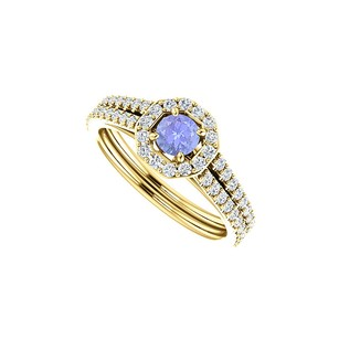 LoveBrightJewelry Double Row Cz Tanzanite Halo Ring In 18k Gold Vermeil