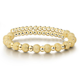 LoveBrightJewelry Elegant Beaded Women Bracelet in Yellow Gold Vermeil