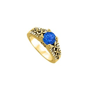 LoveBrightJewelry Elegant Sapphire And Cz Ring In 18k Yellow Gold Vermeil