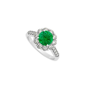 LoveBrightJewelry Emerald And Cubic Zirconia Ring In 925 Sterling Silver