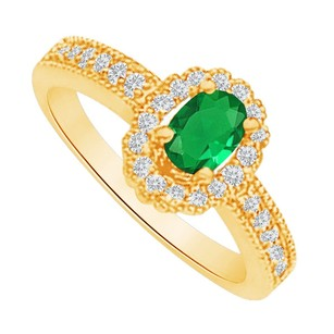LoveBrightJewelry Emerald And Cz Halo Ring In 18k Yellow Gold Vermeil
