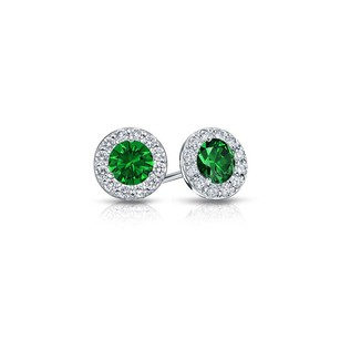 LoveBrightJewelry Emerald and CZ Halo Stud Earrings in Sterling Silver 1.00.ct.tw