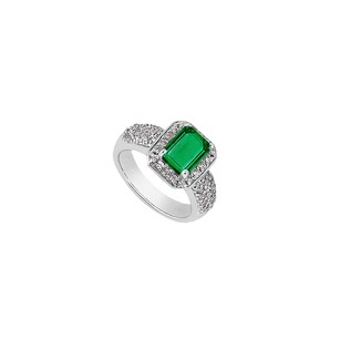 LoveBrightJewelry Emerald Cut Simulated Emerald And Cz Ring In White Gold 14k Total Gem Weight Of 2.75 Carat