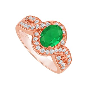 LoveBrightJewelry Emerald Cz Twisted Shank Ring In Rose Gold Vermeil