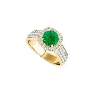 LoveBrightJewelry Emerald Halo Engagement Ring With Cz Rows 1.75 Ct Tgw