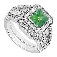LoveBrightJewelry Engagement Ring with Wedding Bands Set of Created Emerald and CZ in 925 Sterling Silver 2 CT TGW