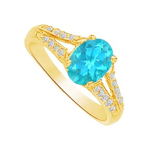 LoveBrightJewelry Fab Blue Topaz And Cz Split Shank Ring 1.50 Ct Tgw
