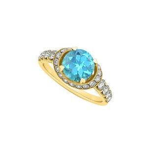 LoveBrightJewelry Fab Gift Blue Topaz And Cz Engagement Ring 1.75 Tgw
