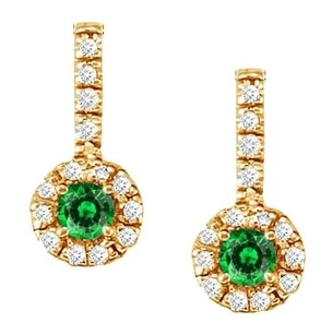 LoveBrightJewelry Fancy Round Emerald and Cubic Zirconia Halo Earrings