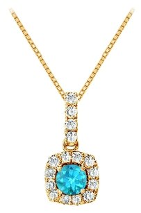 LoveBrightJewelry Fancy Square Blue Topaz and Cubic Zirconia Halo Pendant in Yellow Gold Vermeil over Silver