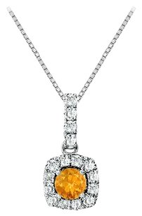 LoveBrightJewelry Fancy Square Citrine and Cubic Zirconia Halo Pendant in Sterling Silver 1.50 CT TGW