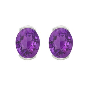 LoveBrightJewelry February Birthstone African Amethyst Oval Stud Earrings in Sterling Si