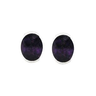 LoveBrightJewelry February Birthstone African Amethyst Oval Stud Earrings In Sterling Silver