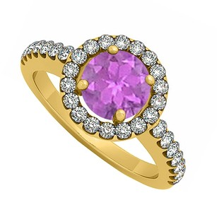 LoveBrightJewelry February Birthstone Amethyst And Cubic Zirconia Halo Engagement Ring 18k Yellow Gold Vermeil