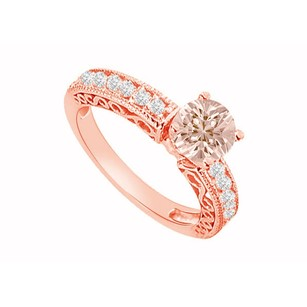 LoveBrightJewelry Filigree Design Natural Morganite And Cubic Zirconia In 14k Rose Gold Vermeil Engagement Ring