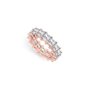 LoveBrightJewelry Five Carat Cubic Zirconia Eternity Band In 14k Rose Gold Fifth Wedding Anniversary Jewelry