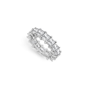 LoveBrightJewelry Five Carat Cubic Zirconia Eternity Band In 14k White Gold Fifth Wedding Anniversary Jewelry
