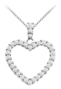 LoveBrightJewelry Floating Heart Cubic Zirconia Pendant Necklace 1.25 CT CZ