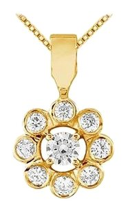 LoveBrightJewelry Flower Pendant with Cubic Zirconia in Yellow Gold Vermeil over 925 Sterling Silver 0.25 CT TGW