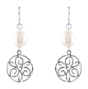 LoveBrightJewelry Freshwater Cultured Pearl and Rhodium Treated 925 Sterling Silver Earrings 8.50 MM