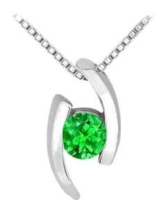 LoveBrightJewelry Frosted Emerald Pendant in Rhodium Treated 925 Sterling Silver 0.25 Carat TGW